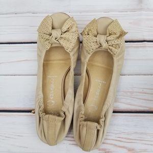 Jeffrey Campbell tan leather bow ballet flats